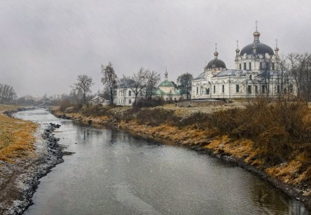 church near a river on a rainy day - church, river, rain, gloomy