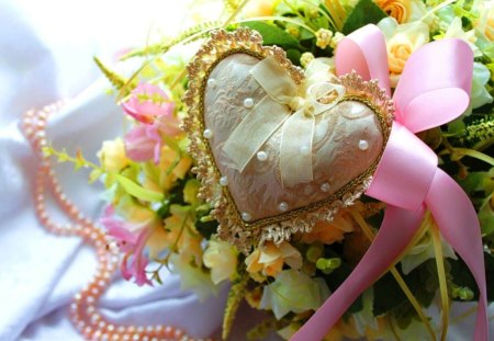 Vintage  heart - pink, heart, yellow, ribbon, vintage, delicate, flowers, pearls, still life, lace, green, roses, nature