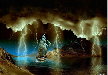 Sailboat - fantasy, abstract, storm, sailboat
