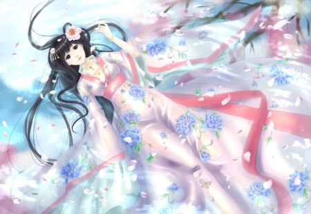Qian Yi - cherry blossom, sweet, hair flower, hot, beauty, anime girl, long hair, black hair, female, ribbon, lying, sexy, jewelry, cute, cool, qian yi, scarf, petals