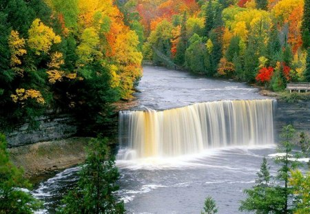 Autumn Colors Surrounding Waterfalls - autumn, colorful, pool, trees, fall, red, waterfall, yellow, orange, leaves