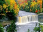 Autumn Colors Surrounding Waterfalls