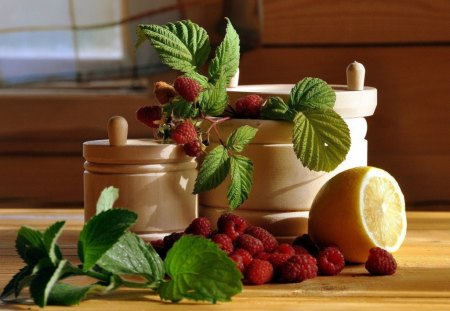 RASPBERRY CHARM - citrus, utensils, herbs, fruit, raspberries, windows, lemons, kitchens, leaves