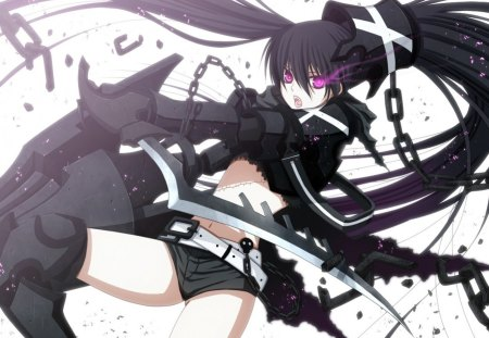 Insane Black Rock Shooter - original, insane black rock shooter, emo, fantasy, anime, black rock shooter, anime girl, weapon, brs, purple eyes, black hair, vocaloid, swords, chains, tagme, punk, fire, ibrs, dark, anime warrior