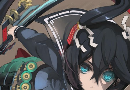 Black Rock Shooter - original, beautiful, emo, fantasy, anime, black rock shooter, blue fire, anime girl, blue eyes, black star, sword, black hair, japanese, cute girl, shooter, tagme, school girl, armor, warrior, uniform, katana