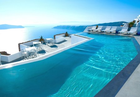 Santorini, Greece - swimming, peaceful, pool, reflac, hotel, holiday, paradise, swimming pool, island, sea, blue, sky, splendor, water, summer, seascape, nature, chair, beauty, beautiful, lovely, santorini, summer time, clouds, view, chairs, greece