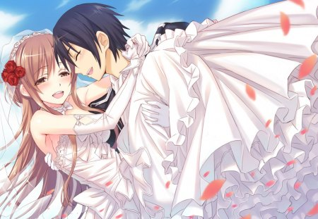 Yuuki Asuna & Kirigaya Kazuto - pretty, kazuto, stunning, cg, blush, game, clouds, nice, gloves, anime, flowers, beauty, anime girl, art, yuuki, closed eyes, black, sky, cute, rose petals, cool, tuxedo, digital, awesome, asuna, white, artistic, suit, princess hold, married, dress, rose, tux, white clouds, beautiful, anime boy, kirito, cleavage, black hair, amazing, wedding dress, brown hair, kirigaya kazuto, yuuki asuna, sword art online, wedding, brown eyes, kirigaya, sao, boy, girl, guild, flower, petals, blue sky, black eyes, white dress