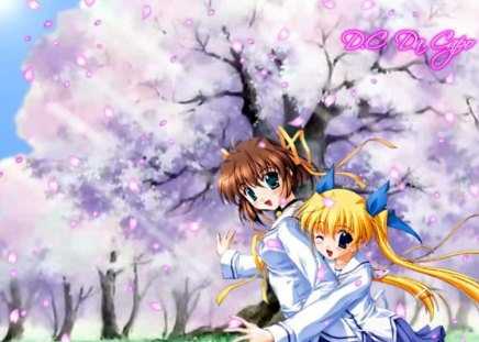 School Girls - girls, school, blossoms, tree, uniform, friends