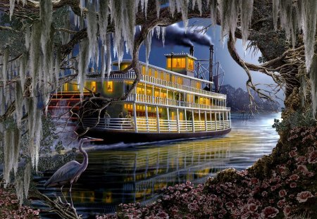 Mississippi Steamer - steam, water, ship, bird, river, tree