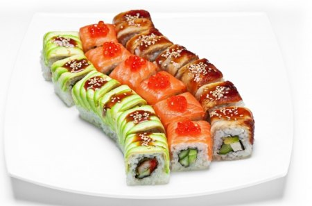 *** SUSHI *** - red, green, brown, food, sushi, color