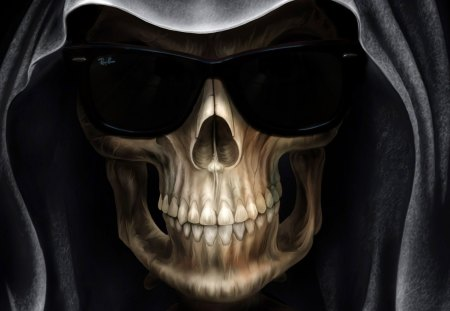 Grim Reaper with Ray Ban Wayfarer sunglasses - reaper, ray ban, skull, death, dark, grim