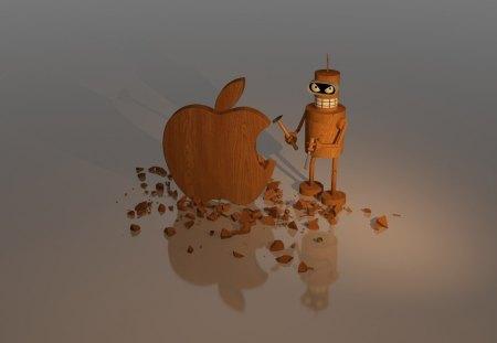 *** APPLE *** - apple, mean, wooden, technology