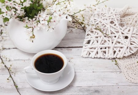 Coffee Time - photography, romantic, cup of coffee, sweet, cherry, coffee time, cup, coffee, with love, for you, flowers, wooden, spring time, heart, nature, vase, beauty, beautiful, lovely, cherries, spring, romance, still life, pretty, loveve