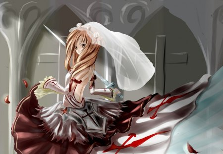 Yuki Asuna - The Blood Knight - illustrasion, sword art online, asuna, anime, blood, yuki, yuki asuna, sao