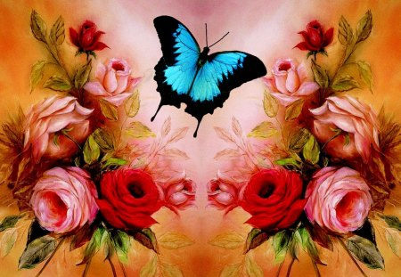 BUTTERFLY Roses - flowers, butterfly, blue, pink, photoshop, red, cute, beautiful, rose, pretty