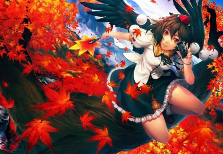Aya Shameimaru - wings, touhou, anime, fighter, skirt, attack, angel, warrior, manga, war, aya shameimaru, leaves