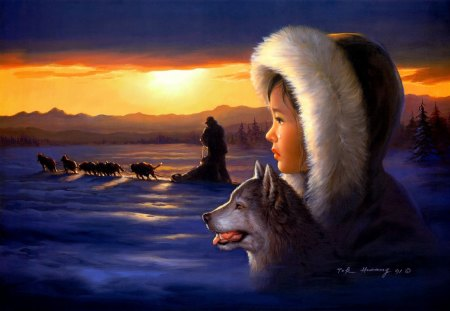Farewell - inuit, sledgedogs, snow, sky, tears, sledge, sun