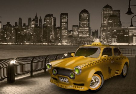 Taxi in New Jersey - newjersey, taxi, night, lights