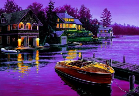 Boat dock - colorful, pier, lake, painting, boat, clear, lights, twilight, cottages, pirple, countryside, lakeshore, sky, nice, trees, cabin, houses, reflection, beautiful, lovely, dock, river, mirrored, dusk, pretty, village, riverbank, shore
