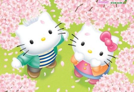 Hello Kitty Friends - kitty, cartoon, abstract, cute, japan, hello, gaphics, art, hello kitty