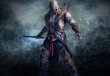 connor - game, 1080p, assassins creed 3, weapon, assassin, axe, connor