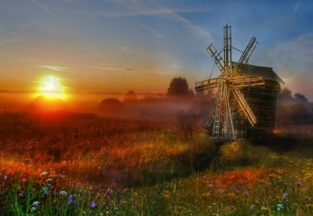 The Old Mill - colorful, windmill, sunlight, field
