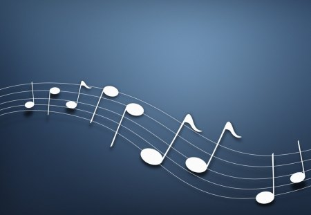Musical notes - notes, blue, music, background