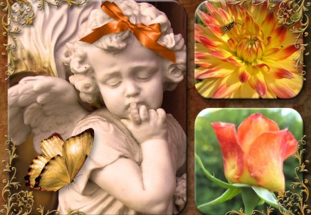 ♥     ღ~Flower Angel~ღ     ♥ - autumn, flowers, butterfly, bow, abstract, collage, angel, flower angel, rose, garden