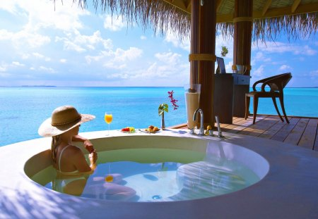 Just Relax - pretty, resort, summer time, glasses, beautiful, woman, clouds, sea, splendor, beauty, chair, blue, female, lovely, juice, romantic, view, romance, ocean, relax, sky, hat, glass, girl, peaceful, summer, jacuzzi, nature, lady