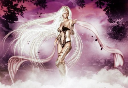 Pink Skies - skies, white, sky, pink, trees, fantasy, white hair, woman, female, hair, lady