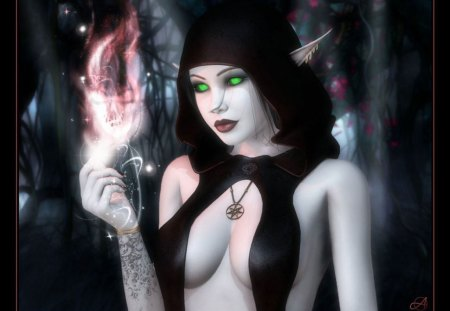 Elven Dark Magic - fire, pale skin, dark, magic, fantasy, elf, ears, spell, black
