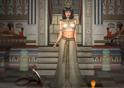 Queen of the Cobras - queen, snake, egypt, poinsonus, snakes, royal, digital art