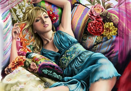 Dozing in Comfort - pillows, sleep, colorful, color, lazy, blond, blue, dozing, sleepin, nightgown, doze, sleepy
