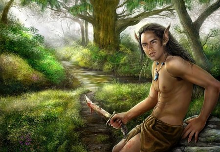Elven Hunter - hunt, man, trees, nature, hunter, male, forest, greenery, bare chested, fantasy, elf, loin cloth, green, blood, knife