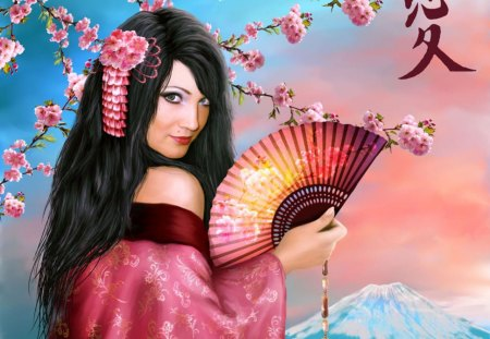 Red Komono - sunset, asian, oriental, water, tree, fantasy, komono, woman, fan, female, black hair