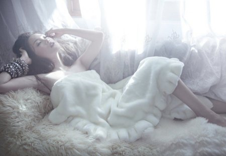 crisp morning - bed, woman, white, pure