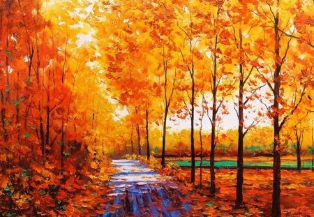 Autumn painting - leaf, fall, forest, jungle, autumn, painting