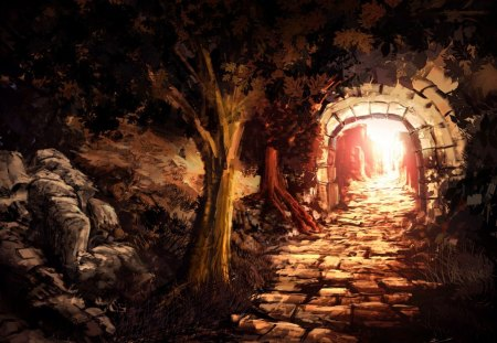 Painting - tunnel, light, painting, tree