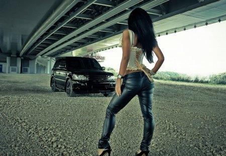 Truck under the bridge - models female, other, bridges, architecture, people, cars
