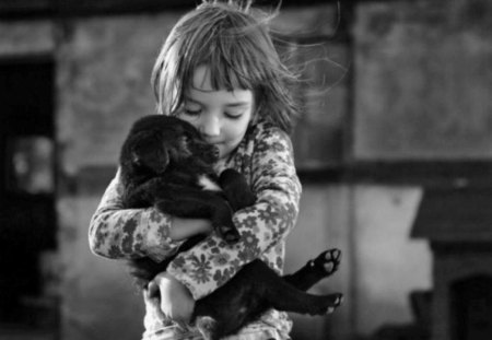 A tender hug is what we all need - image, little, black and white, small, picture, sweet, wallpaper, child, tender, dog, puppy, photograph, photo, pic, wall, hug, cute, girl