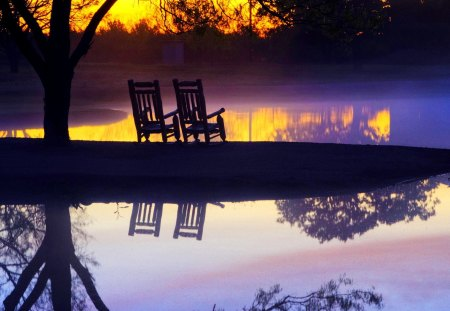 RELAX & WATCH the SUNSET - chairs, sunset, shore, lake