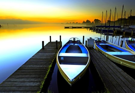 RESTING BOATS  at  SUNRISE - sunrise, pier, lake, morning, boats, landscape, boat