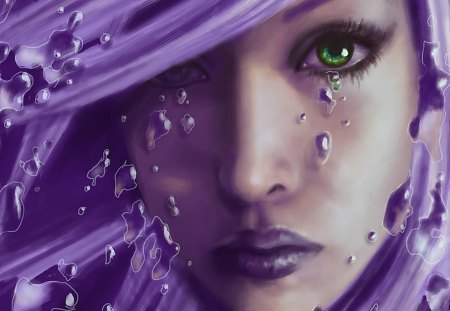 Purple Tears - cry, lips, face, nose, eyes, purple, crying, woman, female, tears, hair, sad
