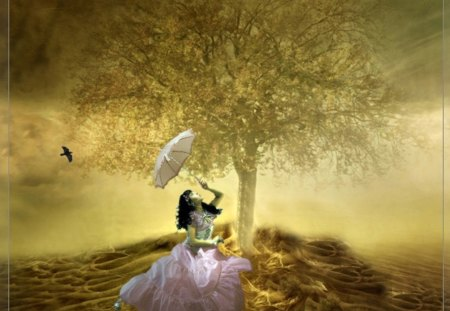 Fantasy Land - Girl with a parasol - land, fantasy, girl, parasol