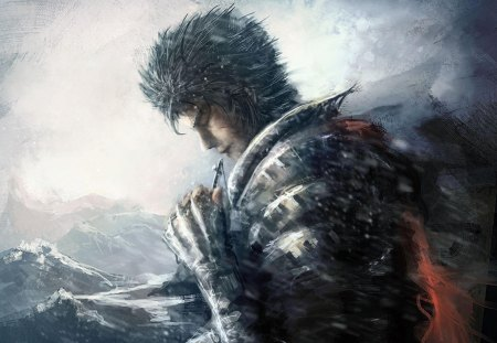 Guts - guts, spiky hair, anime, cross, mountains, necklace, male, lone, armour, berserk