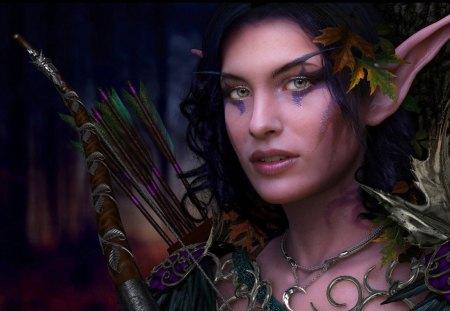 Elf Princess - autumn, blue, princess, eye, beauty, fantasy, leaf, woman, elf, girl, art, green