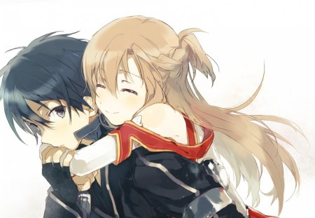 Kirigaya Kazuto & Yuuki Asuna - pretty, kazuto, stunning, cg, flash, nice, love, anime, black swordsman, beauty, anime girl, the flash, art, yuuki, closed eyes, black, hug, cute, cool, jacket, digital, awesome, asuna, white, red, artistic, married, brown, beautiful, anime boy, kirito, black hair, couple, outfit, amazing, brown hair, kirigaya kazuto, yuuki asuna, sword art online, the black swordsman, brown eyes, kirigaya, coat, sao, boy, girl, uniform, black eyes