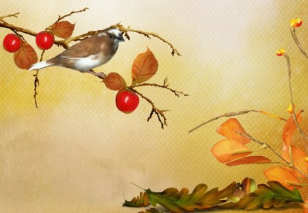 Autumn Simple - fall, autumn, acorns, wind, breeze, ground, yellow, cold, nuts, tree, leaves, gold, bird, berries, amber, chill