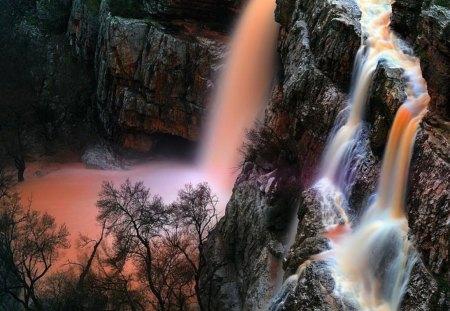 Amazing rocks waterfall - colorful, golden, amazing, power, orange, mountain, rocks, gorgeous, nice, nature, trees, fall, waterfall, beautiful, lovely, stones, falling
