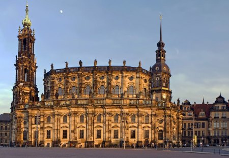 cathedral in dresden - square, cathedral, moon, towers